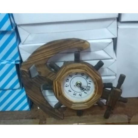 Relógio âncora armação em madeira artesanal