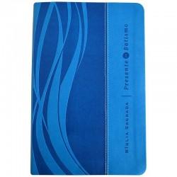 Bíblia Sagrada Presente de Batismo | Letra Normal | NVI | Capa Azul Luxo
