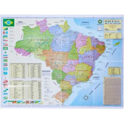 Mapa Brasil Politico e Rodoviário  Impermeabilizado 1,20x0,90 cm